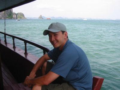 Viet at Ha Long Bay; first return to Vietnam, 2002.
