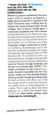 SYMPATHIZER Starred Library Journal Feb 15 2015 cropped